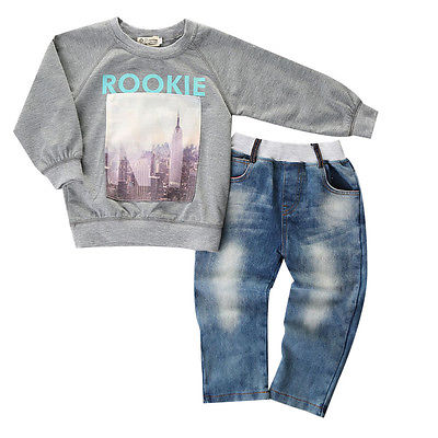 2pcs set Baby Kids Boys Clothes Cool Long Sleeved O Neck Shirt Sweater Jeans Denim Trousers