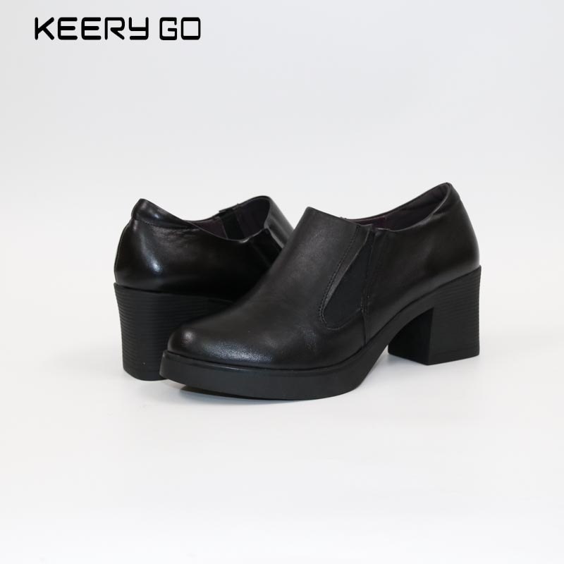 new leather high heels single shoes inside and outside all leather shoes classic simplicity