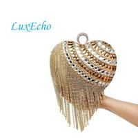 Роскошные сердца дизайн со стразами вечерние сумки кисточкой цепи сумки на ремне сумки бриллиантами Модные клатчи Свадьба Кошелек