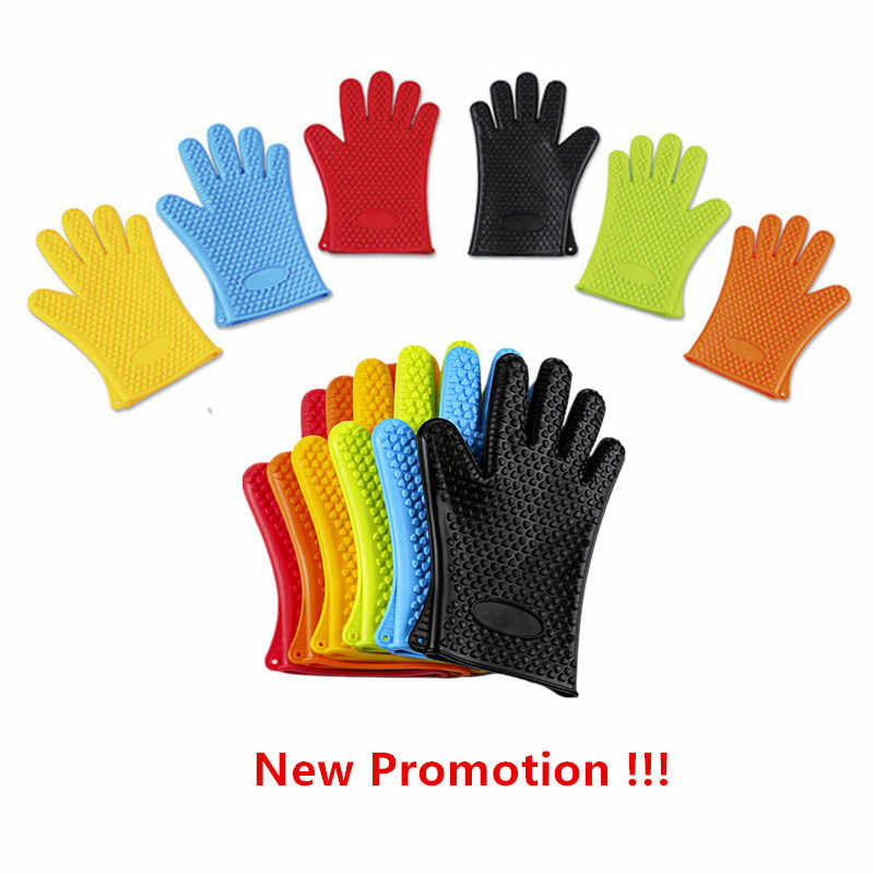 Kitchen Glove Heat Resistant Silicone Kitchen barbecue Heat Insulation Gloves pot pan Oven mittens Cooking BBQ Glove Oven Mitt
