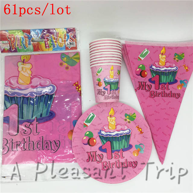 61pcs/lot First Birthday Theme Party Disposable Tableware Kids Birthday Party Supplies My First Birthday & 61pcs/lot First Birthday Theme Party Disposable Tableware Kids ...