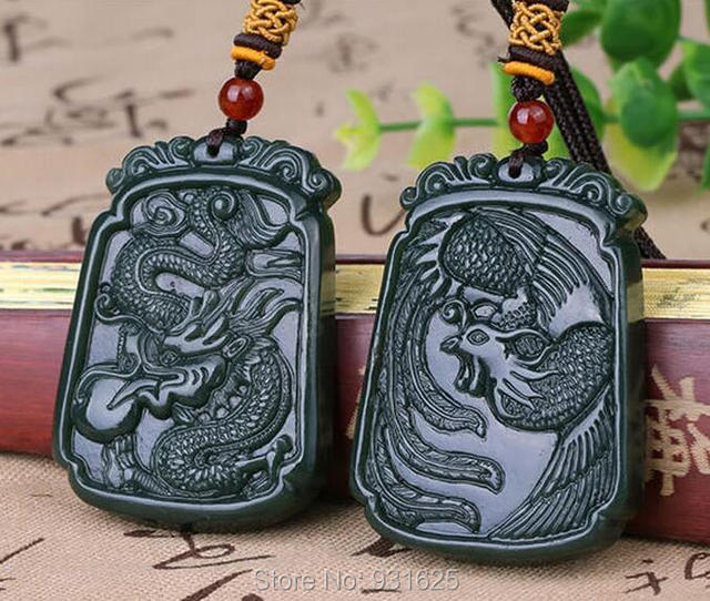 100% Natural Grade A Real Hetian Jade Carved Dragon Phoenix Lucky Pendant Green Jade Pendants + free Necklace Fine Jade Jewelry