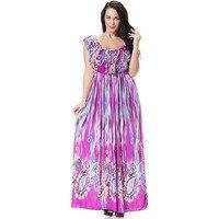 2016 Summer Dress Women Purple Flowers Frill Neck Dress Sexy Robe De Soiree Long Floor Length