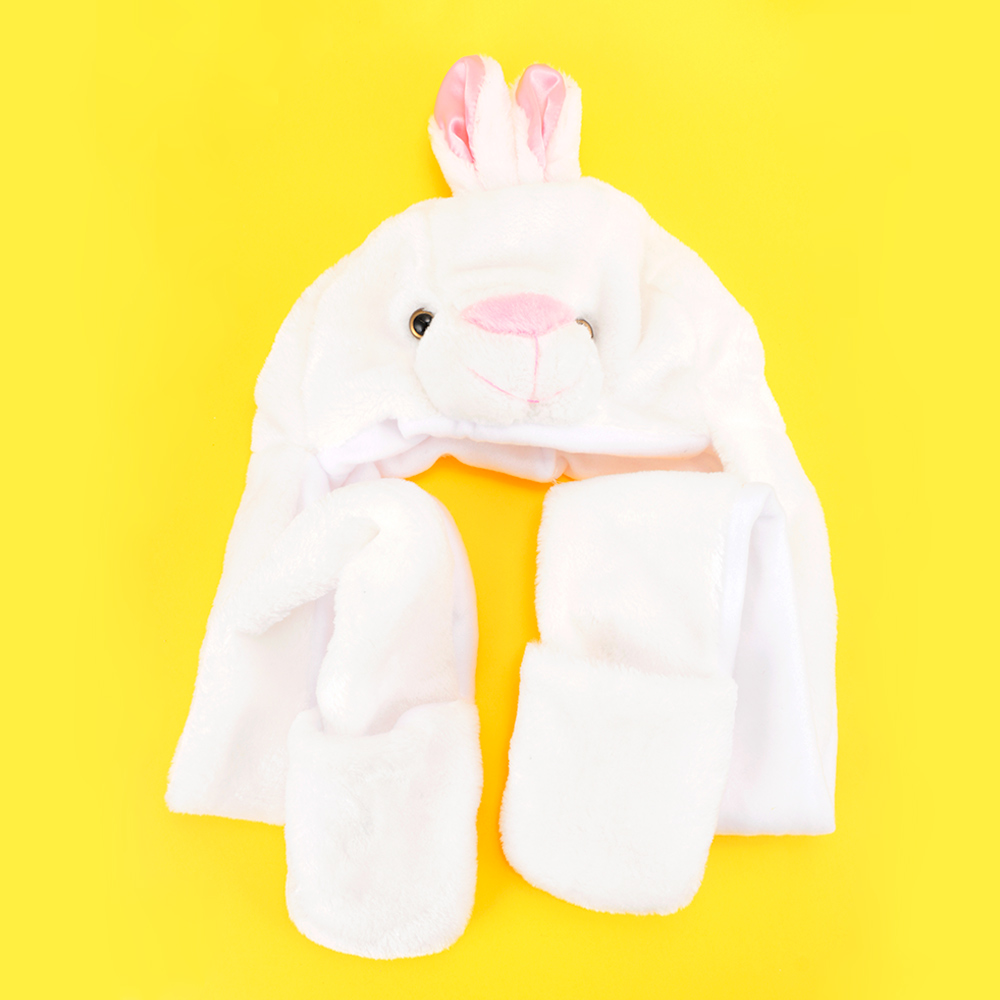 1 * Hat (with Gloves) Adult Kids Bunny Hats With Ears Cartoon Warm Polyester Plush Cap Hat Earmuff Scarf Gloves Length: 97cm