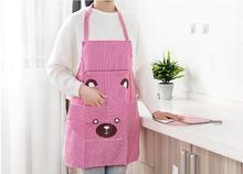 1PC Cute Women Lady Waterproof Bib Apron Dress Restaurant Home Kitchen with Pocket Cooking Cotton Smock Bear OK 0918