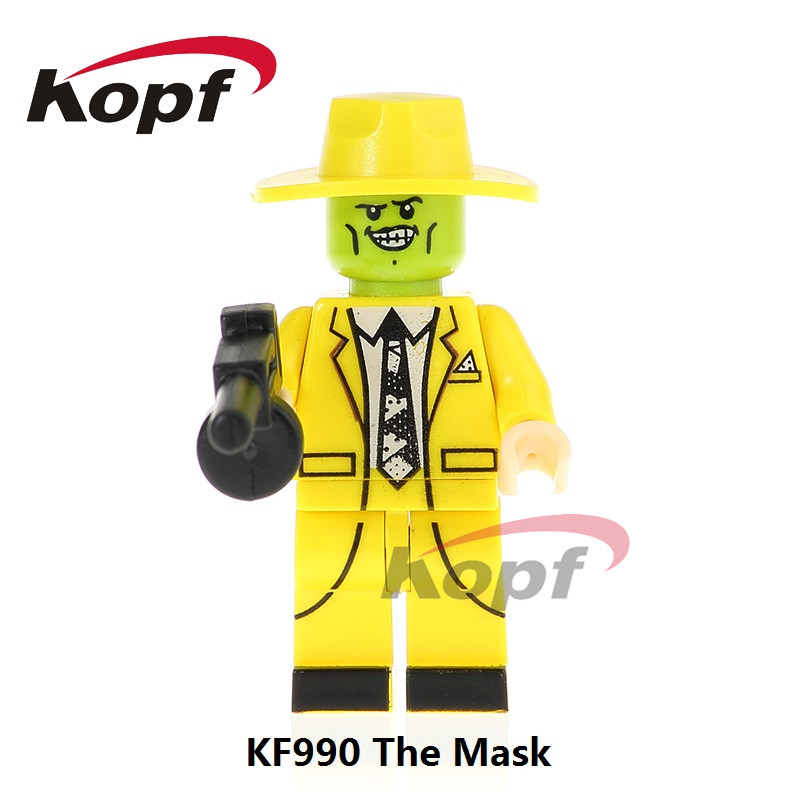 Single Sale Super Heroes The Mask In Yellow Magical Comedy Movie TV Characters Bricks Building Blocks Children Gift Toys KF990 super heroes single sale the villain of yellow lantern skeletor heman he man he man building blocks toys for children gift kf921