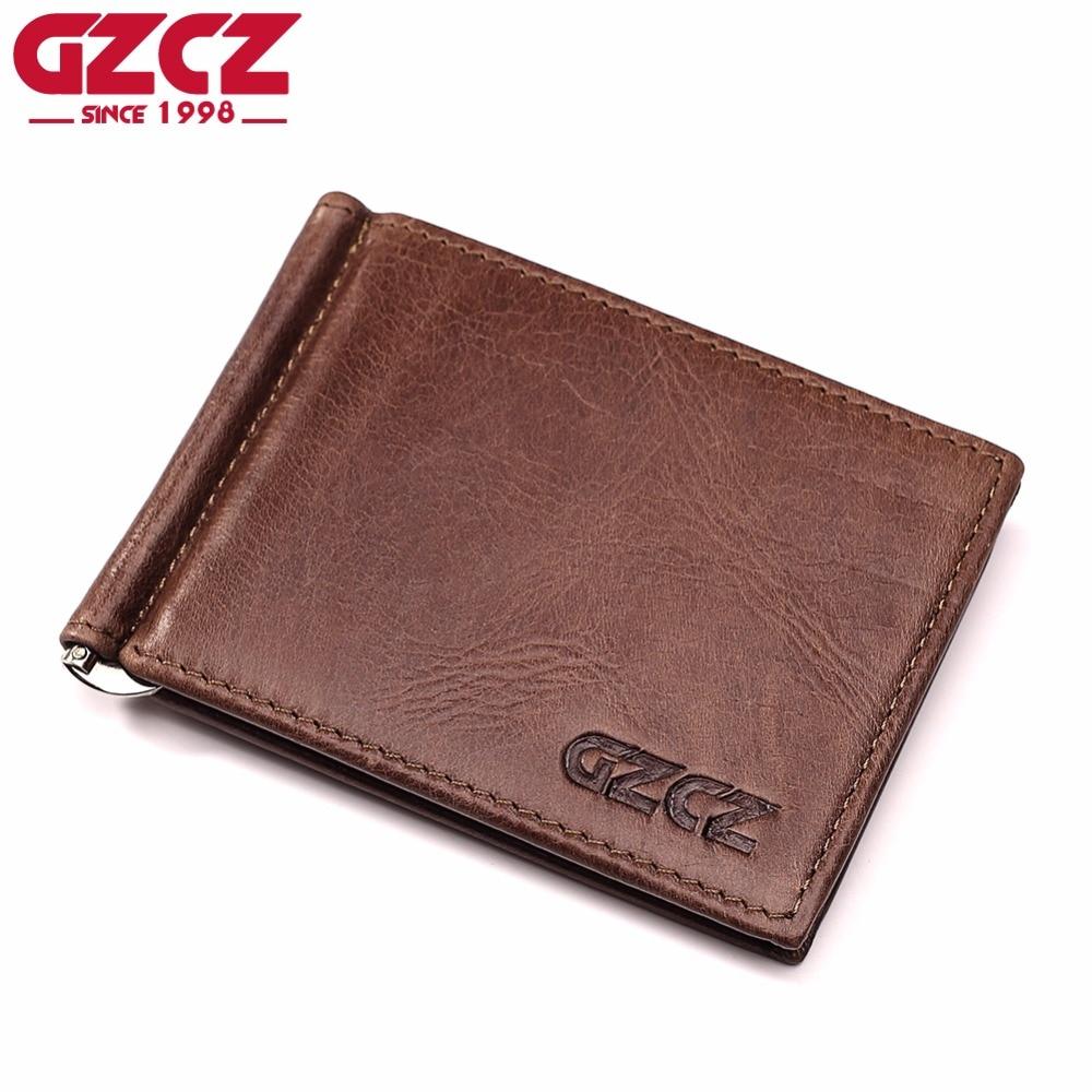 GZCZ High Quality Genuine Leather Fashion Men Wallet Female Bifold Women Purse Male Money Clip Clamp For Money Case Cuzdan