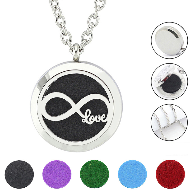 Free with Chain and Felt Pads! 30mm Love Silver 316L Stainless Steel Oil Diffuser Necklace Perfume Locket Pendant Jewelry