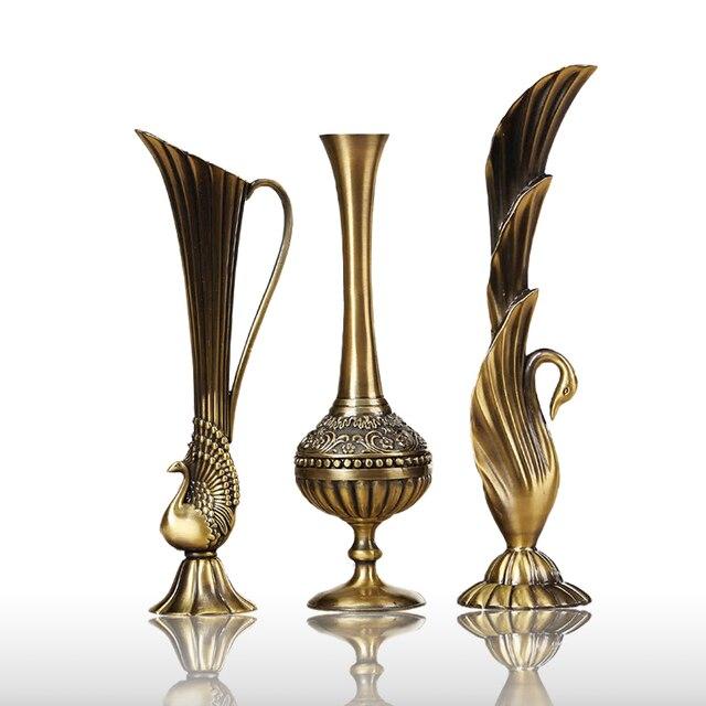 Europe Retro Peacock Vase Metal Alloy Goldbronze Small Vases Crafts