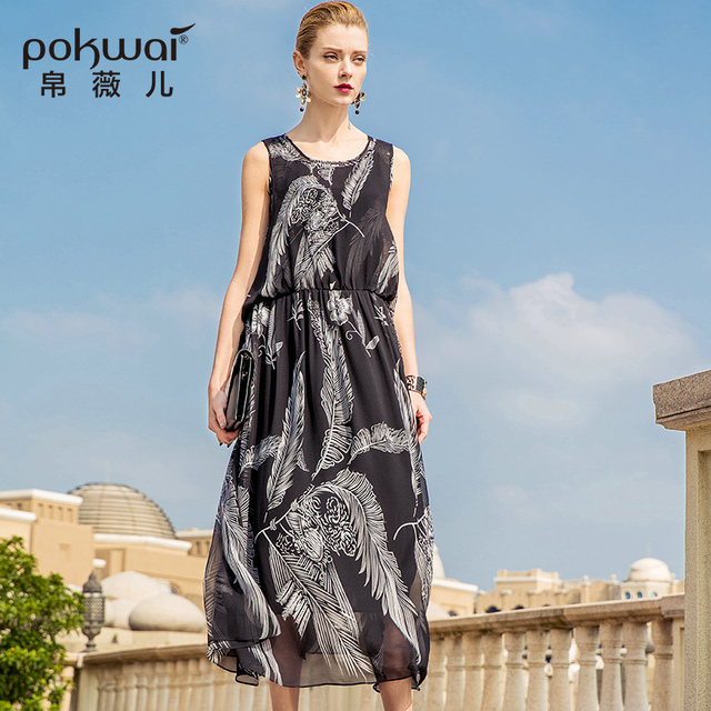 POKWAI Long Casual Floral Summer A-Line Party Dress Women 2018 New Arrival  Fashion High Quality Sleeveless O-Neck Tank Dresses