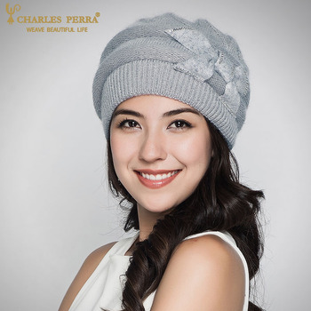 Charles Perra Women Knitted Hats Winter Thicken Double Layer Elegant Casual Rabbit Hair Blend Womens Hat  Female Beanies D304