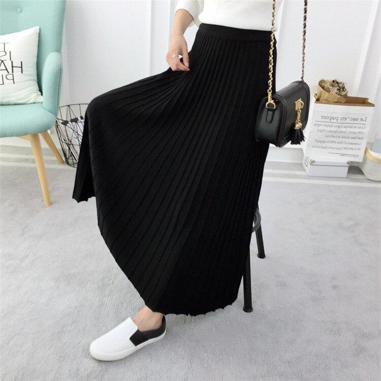 gris Saias Cintura Saia Mujeres Gtgyff Negro Falda Térmica Midi De A Negro Estiramiento line Gris Plisado Las Para Elástico Alta Faldas Caliente wIHB1q