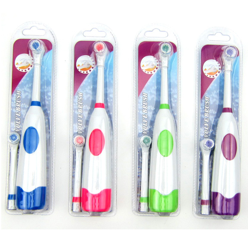 1 Set Electric Toothbrush With 2 Brush Heads Battery Operated Oral Hygiene No Rechargeable Teeth Brush For Children image