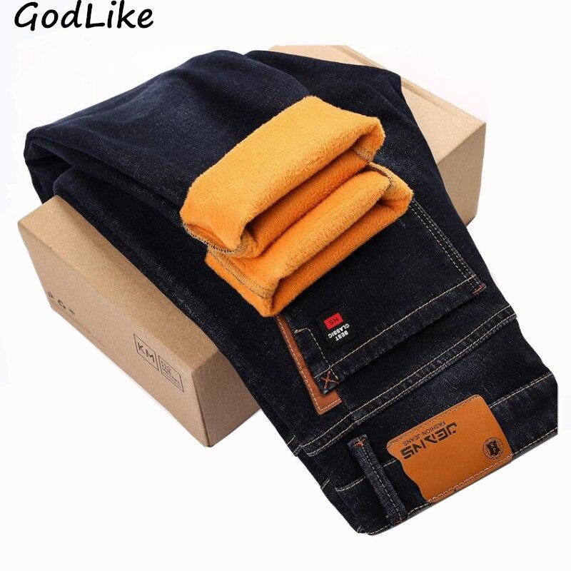 New 2018 Winter Men's Warm Black blue Skinny Jeans Pants Elasticity Slim Fit Thicken Denim Pants Brand Trousers