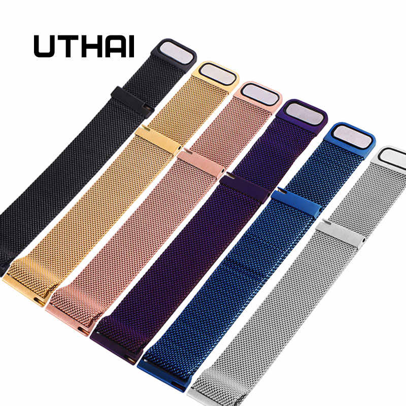 UTHAI S09 Universal Milanese Watchband 14-24mm Silver Stainless Steel 20mm watch strap Replacement Bracelet 22mm watch band
