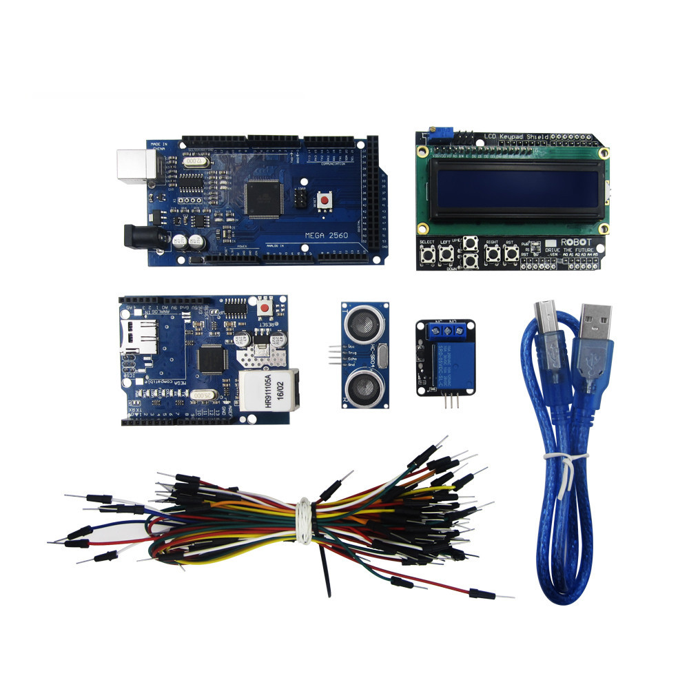 Mega 2560 r3 fo kit + HC-SR04 +breadboard cable + relay module+ W5100 UNO shield + LCD 1602 Keypad shield Free Shipping nokia 5110 lcd module white backlight for arduino uno mega prototype