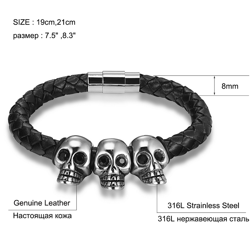 XQNI Skeleton/Totem Combination Fix Design With Stainless Steel Magnetic Clasp Genuine Leather Bracelet for Valentine's Day Gift