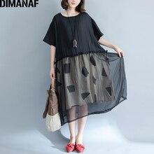 Dimanaf женское платье Лето Плюс Размеры 2018 вуаль сращены Лоскутные сетчатые платья женские Повседневное свободные за Размеры D элегантный Платье черного цвета