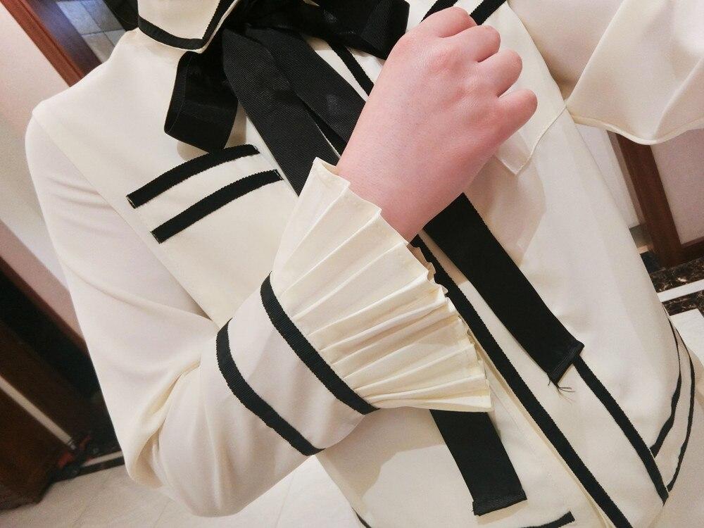 Été 2 pièce 1 Plus Arc Femelle Chemise Pantalon Manches Vent Trompette Costume Coréenne Deux Casual Dames Petit AqwArU