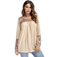 Spring 2018 Long Sleeve Female T Shirt Front Pleated Loose Women Long Tunic Tops Round Neck