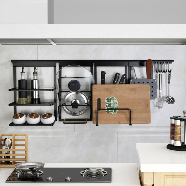 Black Kitchen Organizer Rack Aluminum Alloy Kitchen Rack ...
