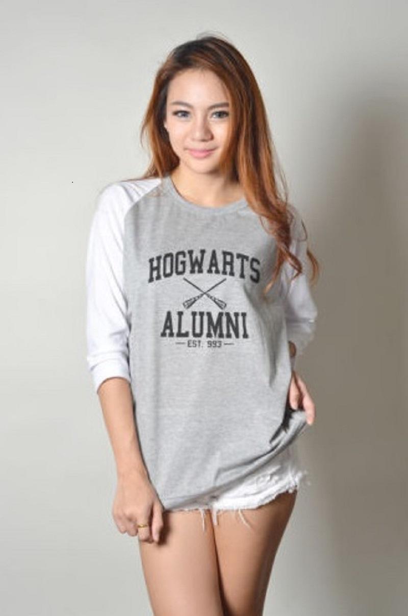 Hogwarts Alumni Potter Women's T Shirt HOGWARTS ALUMNI Long Sleeve Fashion Baseball Top Tee High Quality Plus Size S-2XL