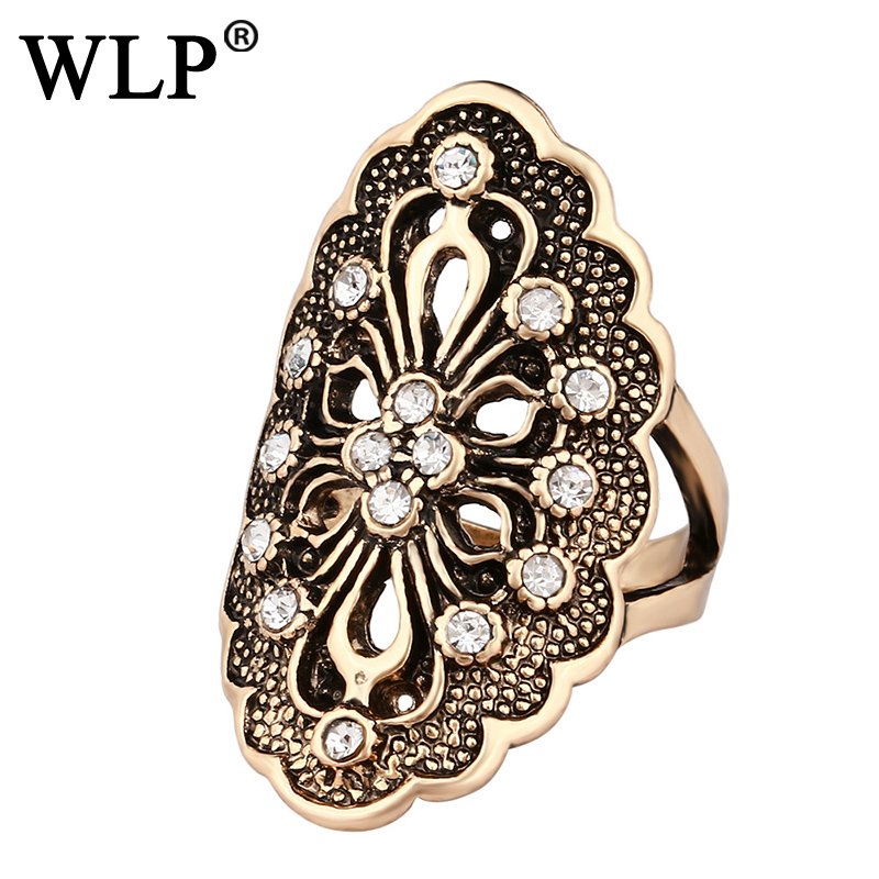 WLP 2018 New Elegant Ring Trendy Antique Gold Plating Decorative Pattern Retro Style Geometry Design Neutral Rings A2401