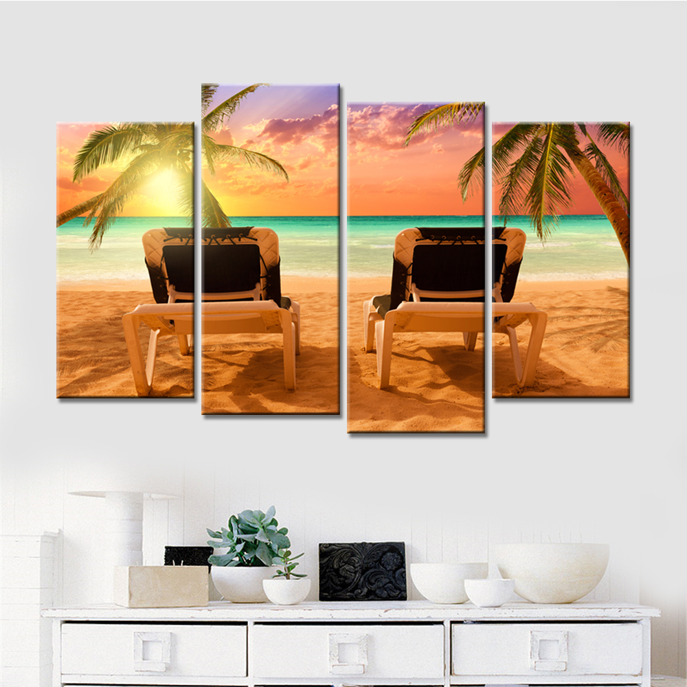 4 Panels Wall Decorative Painting Beach Deck Chair Sunshine Canvas Art Prints Modern Home Decoration Frameless