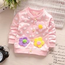 Новинка года, милая верхняя одежда для маленьких девочек, пальто ярких цветов с цветочным рисунком теплая Повседневная хлопковая одежда на пуговицах для детей возрастом от 0 до 36 месяцев