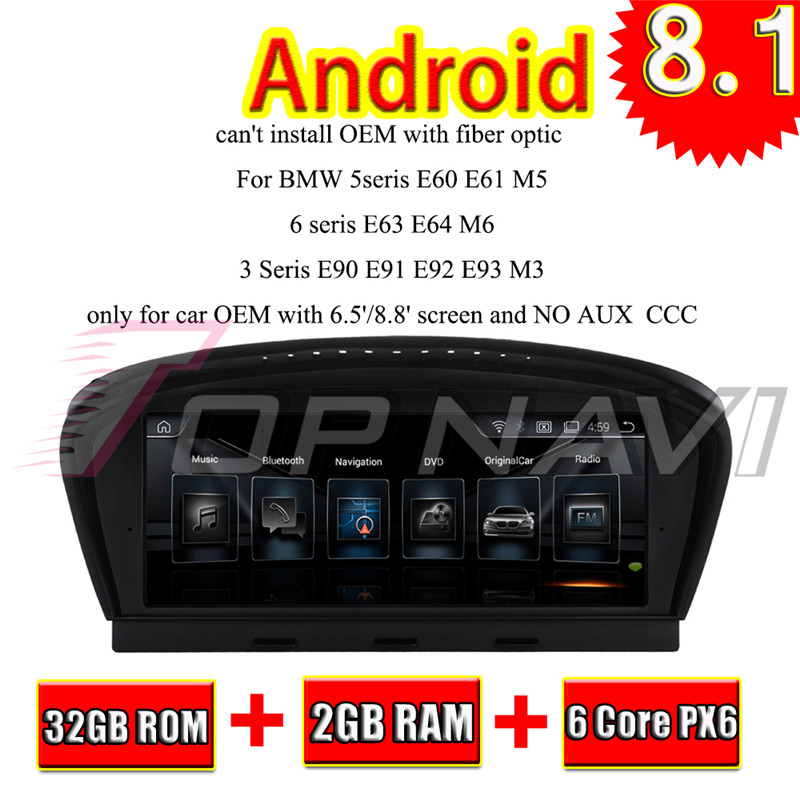 Topnavi 8.8 Android 8.1 Car Stereo Radio Player For BMW 3 Series 5 Series 5 Series E60 GPS Navigation Radio NO DVD Double Din