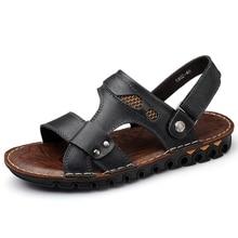 100% Genuine Leather Men Sandals Fashion Brand Shoes Mens Sandals 2017 Summer Beach Sandals Soft Comfortable Men Shoes