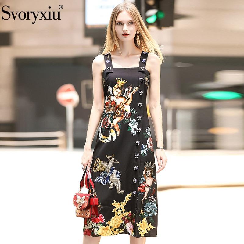 Svoryxiu Runway Summer Black Vintage Party Spaghetti Strap Dress Women's luxury Diamond Single Breasted Angel Print Dress
