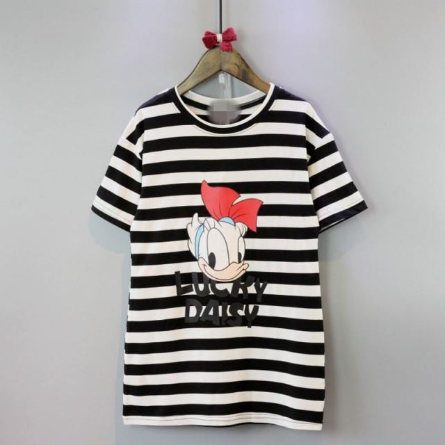 2016 Summer Short Sleeve Donald Duck Tee Dresses Cute Long Girls T-shirt Toddler Girl Stripe Baby Girls Donald Duck T Shirts