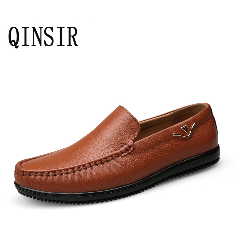 QINSIR Plus size 38-46 slip on casual mens loafers spring and autumn mens moccasins shoes genuine leather men's flats shoes pl us size 38 47 handmade genuine leather mens shoes casual men loafers fashion breathable driving shoes slip on moccasins