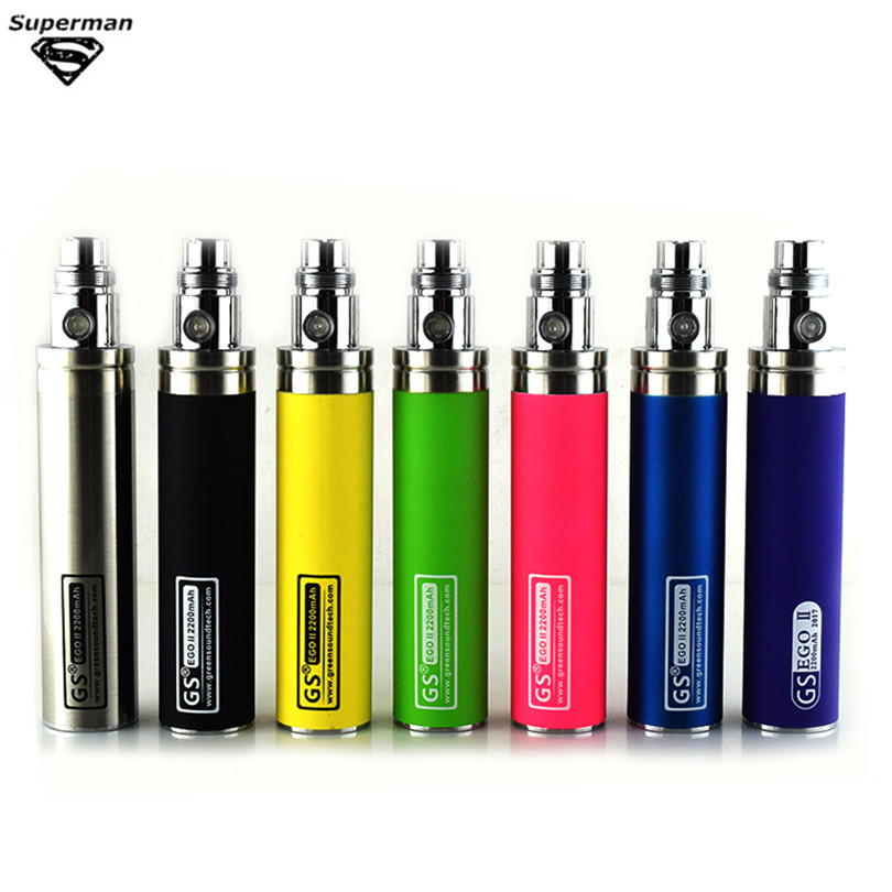 Colorful Vape Capacity GS 2200mah EGO II 1 Week Battery For E Cigarette Ego/510 Thread Battery Fit CE4 CE5  Mt3 E Cigarette