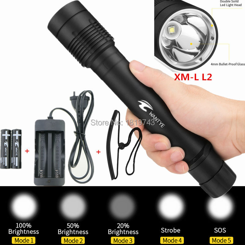 Underwater Diving Flashlight 6000LM XM-L L2 100m LED Diver Torch 5 Modes Waterproof Flash light lamp+18650 Battery/Charger 100m underwater diving flashlight led scuba flashlights light torch diver cree xm l2 use 18650 or 26650 rechargeable batteries