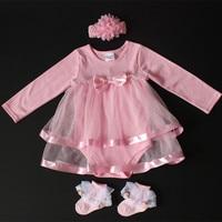 Regalo de Cumpleaños del bebé recién nacido mono del algodón del niño del bebé del arco lindo Niñas rojo/Rosa princesa Tutu vestido Mamelucos + diadema conjunto