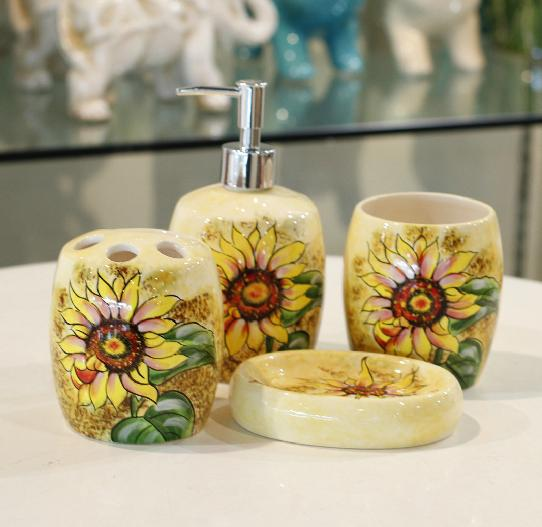 Sunflower Bathroom Set Handmade Drawing Four Pieces Ceramic For Home Decor In Accessories Sets From Garden On Aliexpress
