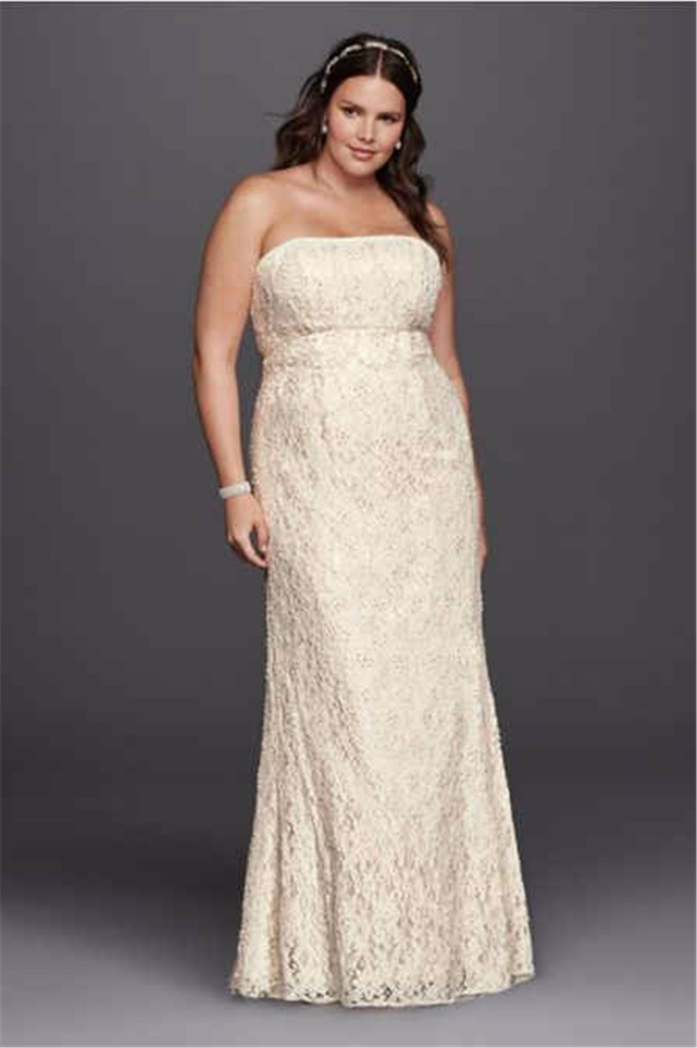 Online get cheap champagne color plus size dresses aliexpress strapless lace empire waist plus size wedding dress 9s8551 floor length champagne color crystals bridal dresses ombrellifo Gallery