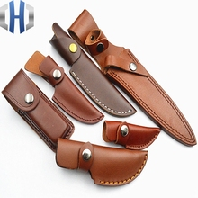 Leather Knife Set Straight Scabbard Army / Jacket First Layer Cowhide Outdoor Camping
