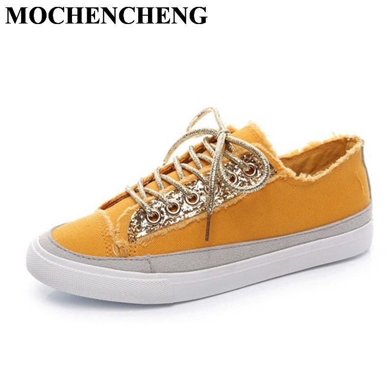 New Women Canvas Shoes for Spring Summer Breathable Lace-up Casual Shoes with Bling Comfortable Flat Leisure Shoes Sneakers reetene new arrival spring summer comfortable casual shoes mens canvas shoes for men lace up brand fashion flat loafers shoe page 8