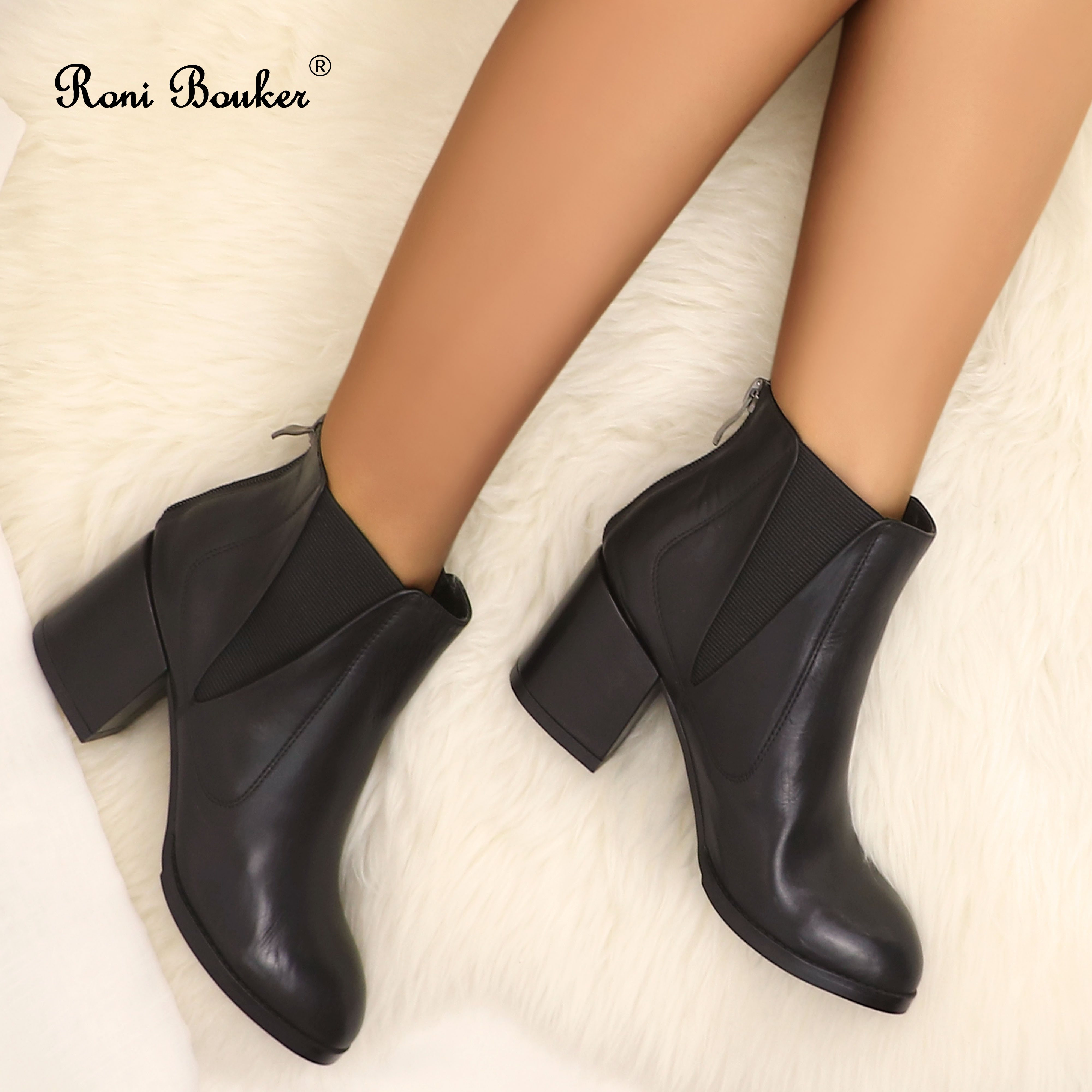 Roni Bouker Women Black Ankle Boots Genuine Leather Handmade Shoes Woman Chunky Boot Square Toe Heels DropshipRoni Bouker Women Black Ankle Boots Genuine Leather Handmade Shoes Woman Chunky Boot Square Toe Heels Dropship