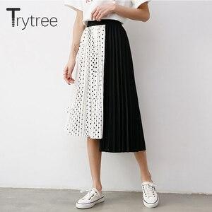 Image 3 - Wypróbuj drzewo lato jesień kobiety Dot spódnica na co dzień poliester szyfon asymetria plisowana spódnica z rozciągliwą talią moda spódnice plus size