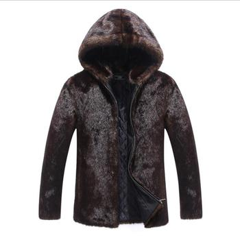 Hooded Autumn faux mink leather jacket mens winter thicken warm fur coat men slim jackets fashion stand collar brown