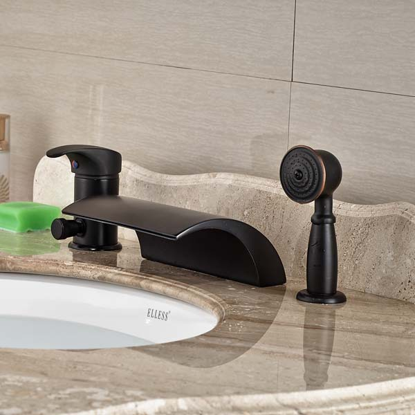 Single Handle Waterfall Bathroom Tub Faucet withHand Sprayer Tap Deck Mounted Oil Rubbed Bronze oil rubbed bronze finished bathroom sink faucet single handle waterfall spout tub mixer tap wall mounted