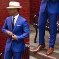 2016 Custom Made Peaked Lapel Classic Royal Blue Tuxedos Groom Wedding Prom Suits Groomsmen Best Man Suit (Jacket+Pants+Tie)