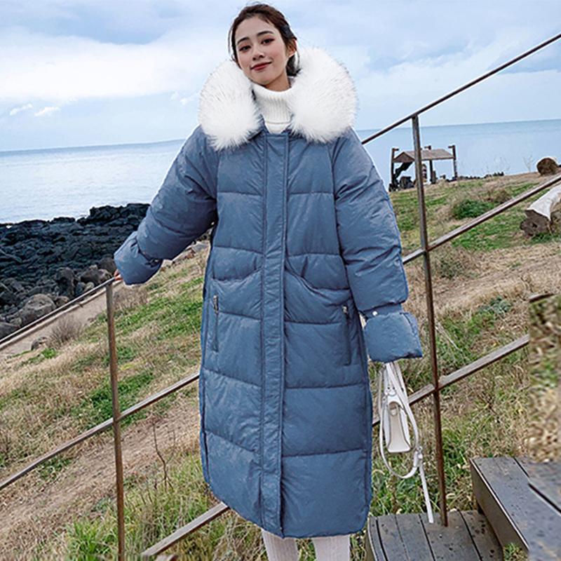 Korean Style 2019 Women Winter Jacket Solid Oversized Loose Female Coat Hooded With Fur Collar Warm Thicken Ladies Long   Parka