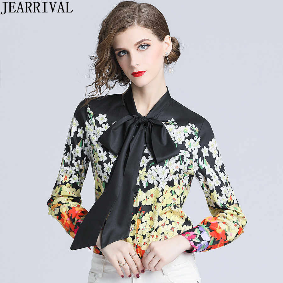 c22ecfec6a7122 Runway Designer Floral Shirt Womens Tops And Blouses 2019 New Fashion Long  Sleeve Bow Collar Casual