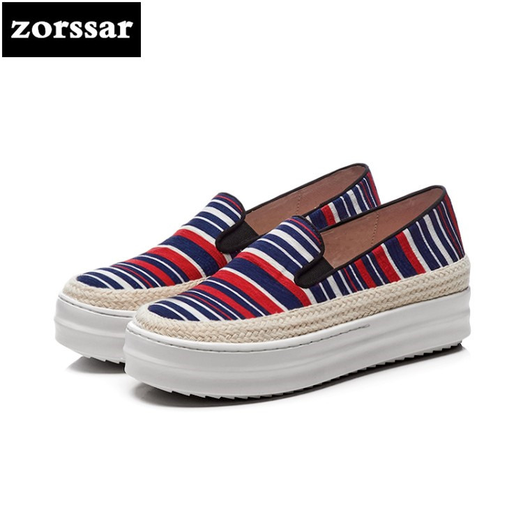 {Zorssar} fashion womens canvas shoes casual flat shoes high quality Women sneakers platform Casual Flats Loafers Big Size 33-43 nature breeze womens cambridge 04 casual flat