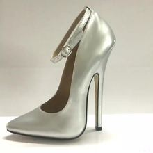 Womens Pointy Toe 16cm Stiletto High Heels Ankle Strap Clubwear Shoes Pumps Plus Size A31